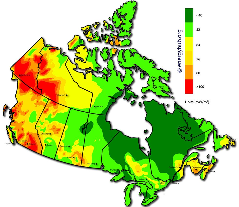 Geothermal Power Map Canada