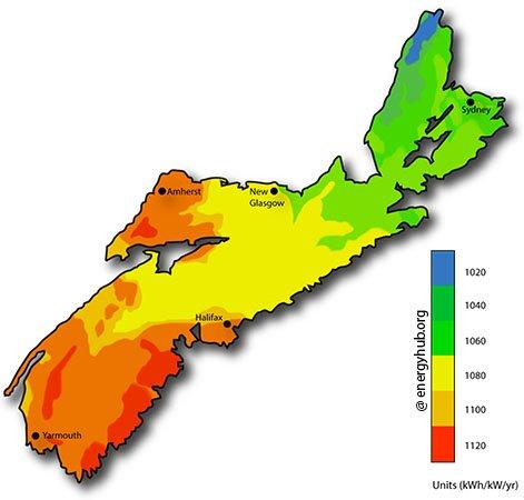 Solar Energy Map Nova Scotia
